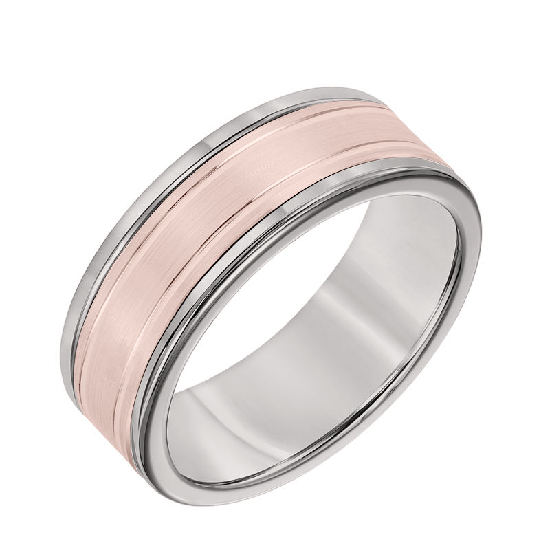 8MM Grey Tungsten Carbide Ring - Double Engraved 14K Rose Gold Insert with Round Edge